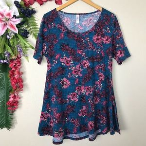LuLaRoe pink and blue floral perfect tee